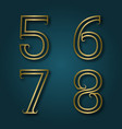 five six seven eight shiny golden numbers with vector image
