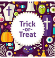 Flat Pattern Halloween Trick or Treat Background vector image vector image