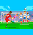 free kick in football national teams in the vector image
