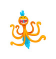 funny octopus monster colorful fabulous creature vector image