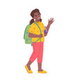 girl kid walking to school and waving with hand vector image vector image