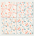 hand-drawn seamless background set foliage vector image vector image