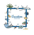 hand drawn summer travel elements text vector image vector image