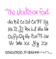 handwritten calligraphy font letters numbers vector image