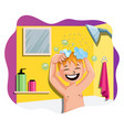 happy boy taking a bath on white background vector image