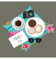 hello July welcome spring summer session donuts vector image
