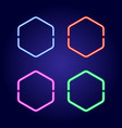 hexagonal neon glowing frames in different colors vector image