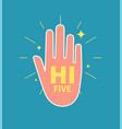 high five hand young man gesture hands informal vector image