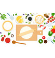 ingredients and tools for cooking pizza vector image vector image
