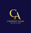 initial luxury ca or ac letter logo design vector image vector image
