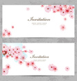 invitation cards with a blossom sakura for your vector image vector image