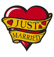 Just married design-heart vector image vector image