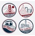 landmarks of San Francisco vintage labels set vector image vector image