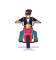 man driving bike and smiling vector image