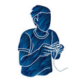 man playing video games cartoon graphic vector image