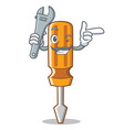 mechanic screwdriver character cartoon style vector image