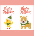merry christmas bird and dog vector image vector image