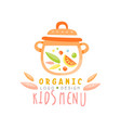 organic kids menu logo design healthy food banner vector image vector image