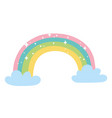 rainbow clouds bright decoration cartoon isolated vector image vector image