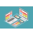 Responsive web design computer equipment 3d vector image vector image