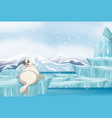 scene with white seal on ice vector image vector image