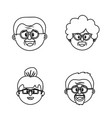 set grandparents couples face with glasses and vector image vector image