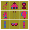 set of icons in flat design winter sports outfit vector image vector image
