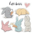 set with cartoon hares vector image