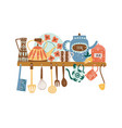 shelf with ceramic tableware and hanging kitchen vector image vector image
