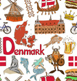 Sketch Denmark seamless pattern vector image vector image