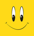 smile on a yellow background in flat style vector image vector image