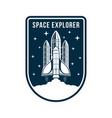 space badge with rocket and spaceship launch vector image