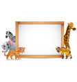 the animals and blank sign wood vector image vector image