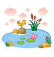 the bird is standing on a rock in a pond vector image