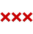triple x letter x shape icon for pornography x vector image