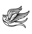 vintage tattoo concept flying swallow vector image vector image