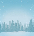 Vintage winter forest landscape background vector image vector image
