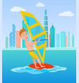 windsurfing summer sport vector image