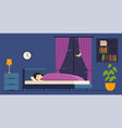woman sleeps at night in bed vector image