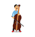 young man playing cello cartoon character cellist vector image vector image
