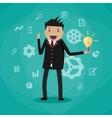 cartoon businessman holding light bulb vector image