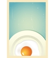 Scrambled egg on plate Retro background vector image