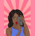 color pop art of african women with an old camera vector image