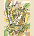 bird in the grass calligraphy swirling elements vector image