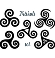Black and white celtic triskel symbols set vector image vector image