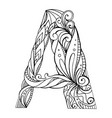 black and white freehand drawing capital letter a vector image vector image