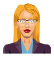 blonde girl with glasses on white background vector image vector image