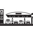 cars at charging and petrol station vector image