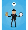 Cartoon businessman with money bag and clock vector image vector image