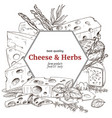 cheese banner hand drawn sketch vector image vector image